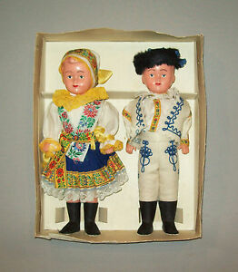 Old-vtg-ca-1950s-pair-of-Celluloid-Boy-Girl-Dolls-made-in-Czechoslovakia-in-orig