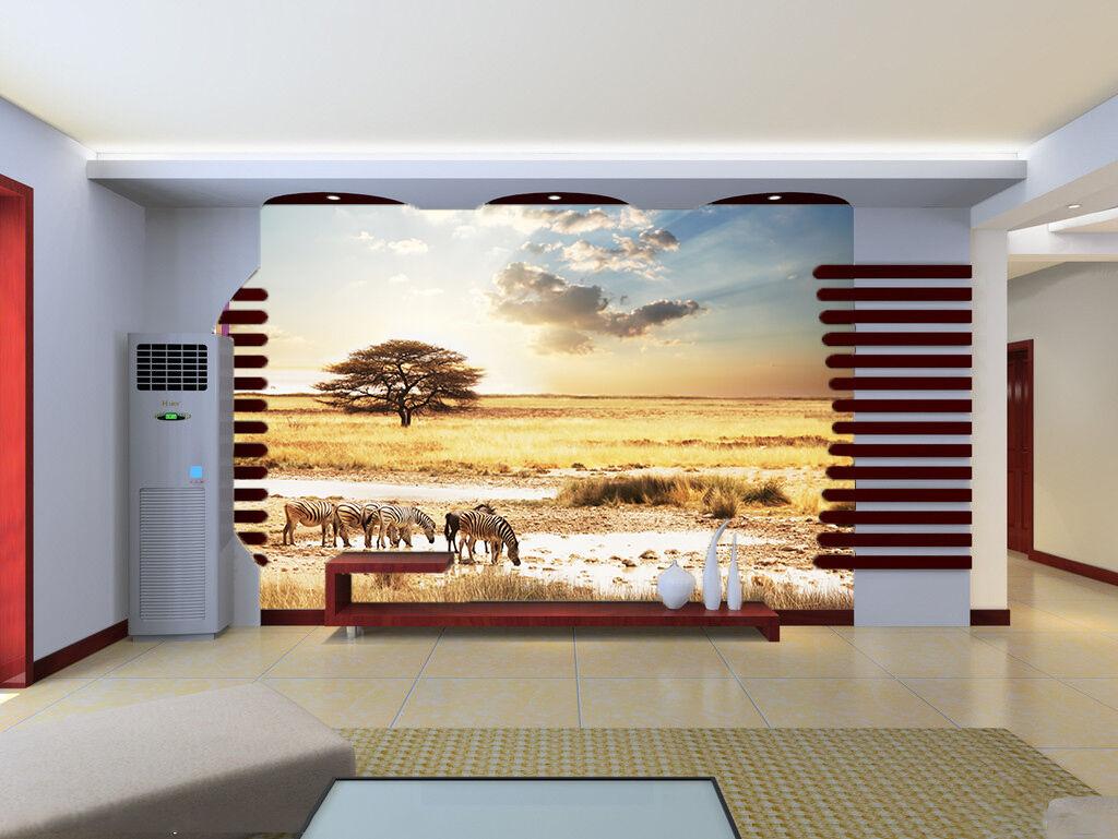 3D Mega Zebras Drinking Water 716 Wall Paper Wall Print Decal Wall AJ Wall Paper