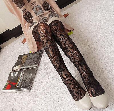 Women Lady Black Sexy Fishnet Pattern Jacquard Stockings Pantyhose Tights New