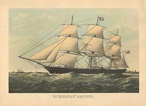 Details about LARGE VINTAGE PRINT of 19th CENTURY SAILING SHIP ~ ETHIOPIAN  838 TONS ~