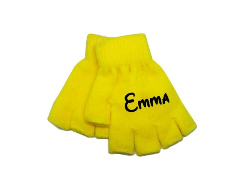 Children/'s Boys Girls Personalise Name Neon Colourful Finger less Gloves 3-16 YR