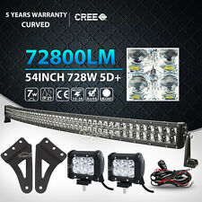 "54inch 728W+2X 4"" 18W Curved LED Light Bar+Mount Bracket Fit GMC/Chevy Silverado"