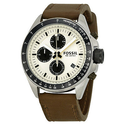 Fossil Decker Chronograph Cream Dial Brown Leather Mens Watch CH2882