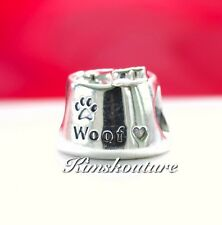 Authentic Pandora 791708 Sterling Silver Charm Woof, Dog Bow