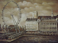 Pittura A Olio Londra Ruota Panoramica London Eye Grande Moderna