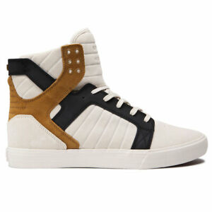 Supra-Men-039-s-Skytop-Hi-Top-Sneaker-Shoes-Bone-Black-Bone-White-Footwear-Skate