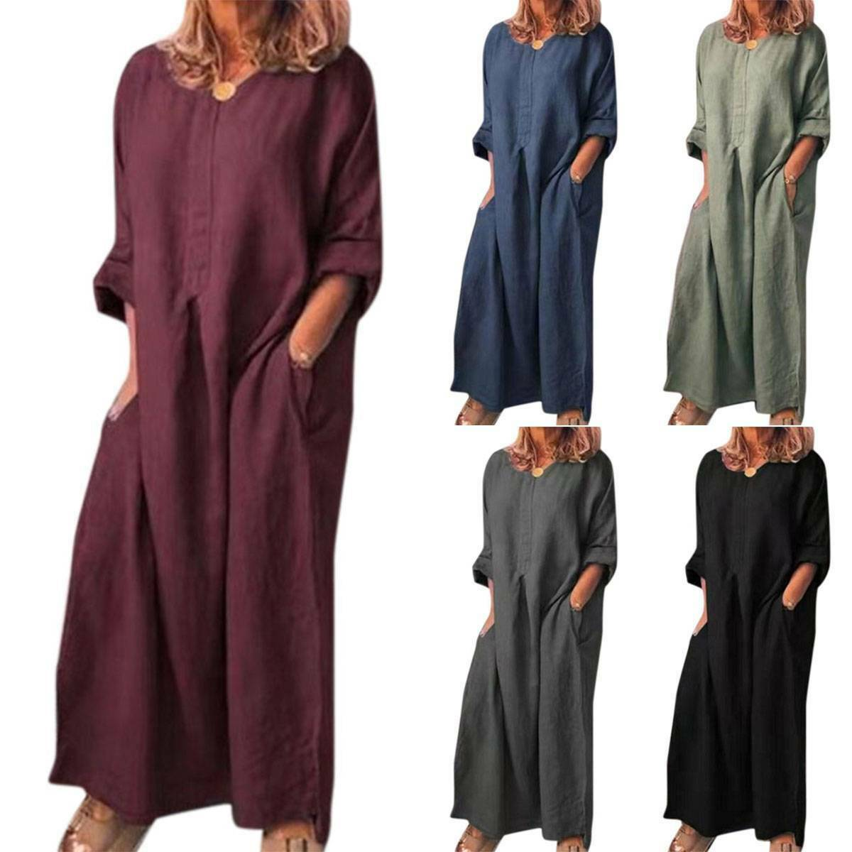 Plus Size Womens Casual Cotton Linen Kaftan Maxi Long Dress Loose Party Dresses