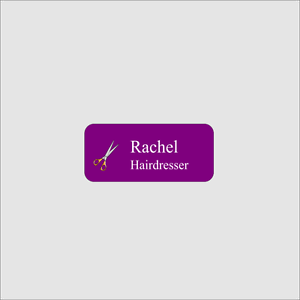 Personalised Hairdresser Name Badge Fibre Reinforced Plastic With Badge Pin