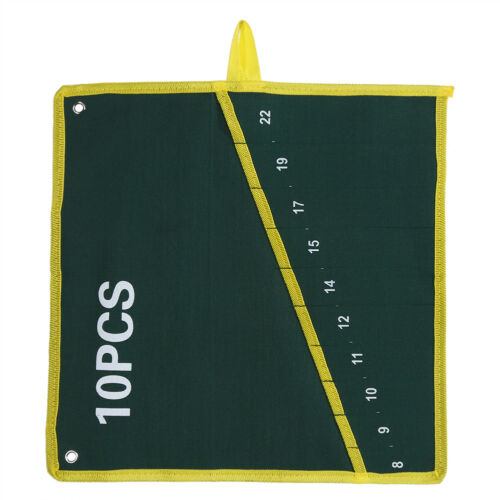Pockets Canvas Spanner Wrench Tool Roll Up Storage Bags Organizer Pouch Case