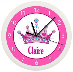 Details about PRINCESS CROWN WALL CLOCK PERSONALIZED GIFT GIRLS BEDROOM  DECOR PINK AND PURPLE
