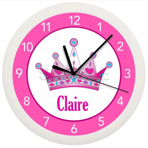 PRINCESS CROWN WALL CLOCK PERSONALIZED GIFT GIRLS BEDROOM DECOR PINK AND PURPLE