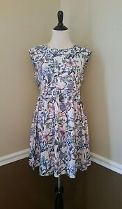 NWT-Modcloth-Dress-M-Pale-Pink-Blue-Periwinkle-Floral-Rayon-A-Line-Sunny-Girl