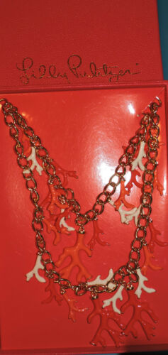 88.00 LILLY PULITZER GOOD REEF NECKLACE ISLAND CORAL BOXED IN LILLY BOX CRUISE