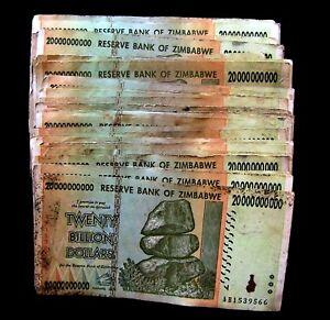 100 x Zimbabwe 5 Billion Dollar banknotes-2008//AA/&AB//DAMAGED CONDITION BUNDLE
