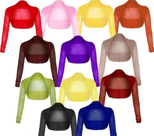 New Womens Ladies Full Mesh Sheer Chiffon Bolero Cropped Shrug Top Cardigan 8-24