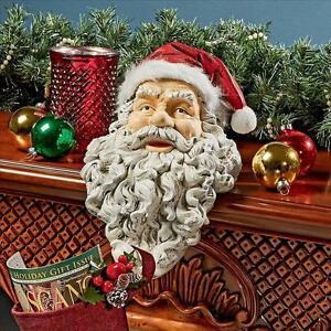 Details About Holiday Santa Statue Christmas Stocking Holder Fireplace  Mantle Shelf Sitter NEW