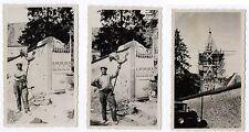 PHOTO ANCIENNE Lot 3 photos ÉGLISE TOÎT INSTALLATION GIROUETTE Vers 1930 Travaux