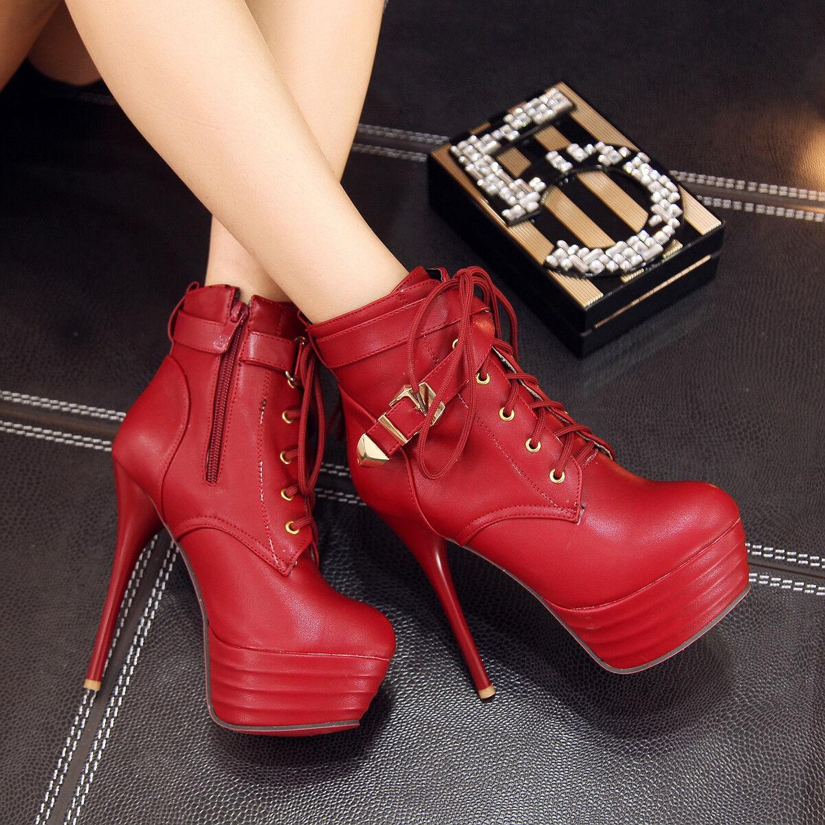 Ankle Stiefel High heels Platform Stiletto 33-43 Schnalle Stiefeletten Damenschuhe