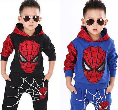 Baby Boys Long Sleeve Spiderman Hoodies Top + Pants Set Kids dress Outfits Hot