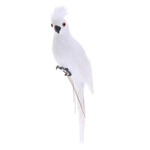 2 Stück weiße Papagei ARA Gartenfigur Zaunfigur Wanddeko für Baum,