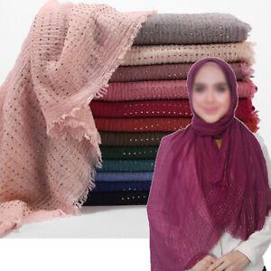 Women-Ladies-Cotton-Hijab-Scarf-Shawls-Rhinestone-Breathable-Muslim-Wrap-Muffler
