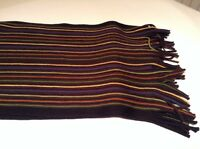 100 % Finest pure Lambs Wool Long Striped scarf Multi Coloured