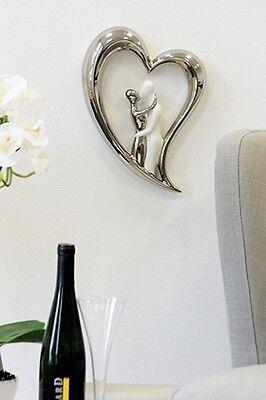 Moderne Skulptur Wanddeko SILVER HEART aus Keramik silber/weiss Höhe 30 cm