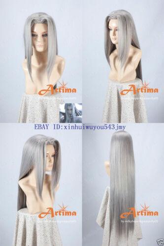 Final Fantasy VII FF7 Sephiroth Anime Cosplay Costume Wig CAP Free Ship