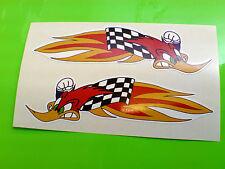 WOODPECKER Speeding Flames Motorcycle Helmet Stickers Decals 2 off 90mm