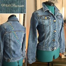 GUESS Jeans Premium DENIM Jean JACKET Studded Jewels GLAM Sz S/XS Stretch