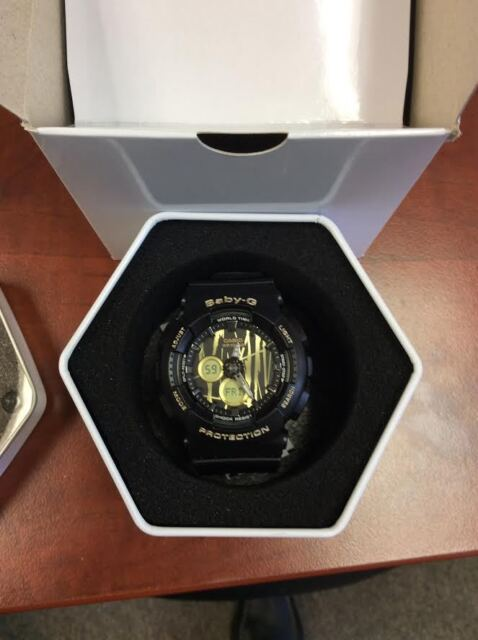 NEW BA120SP-1A BABY-G ANALOG DIGITAL BLACK SCRATCHED-GOLD PATTERN DIAL