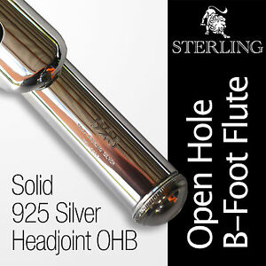 SOLID-925-Silver-Headjoint-Flute-STERLING-Open-Hole-B-Case-BRAND-NEW