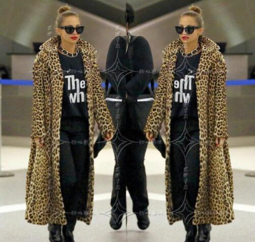 Lapel Parka Leopard Lang Print Kvinders Frakke Fur Faux Overcoat Fuldlængde Maxi 5I4wIYqxB