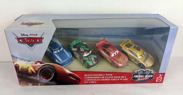 Disney Cars Fireball Beach Racers Beach Racing Diecast Car 4-Pack DAMAGED BOX