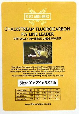"""chalkstream"" Fluorocarbon 9' Fly Line Tapered Leader 5 Sizes. Fast & Free Post"