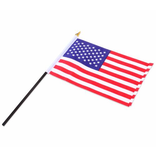 12 Pcs USA Stick Flag Hand Held Small American US Mini Flags On International