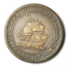1811-Bristol-Half-Penny-Token-London-Patent-Sheathing-Nail-28mm-Bronze