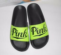 Victoria's Secret Pink Limited Edition Logo Slides Beach Sandals Green S/5-6