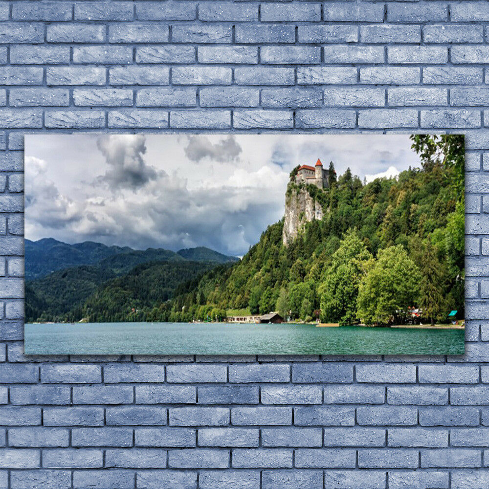 Glass print Wall art 140x70 Image Picture Mountain Forest Lake Nature
