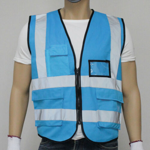 Two Tones Zipper Safety Vest ANSI//ISEA 107 Class 2//Type R With 5 Photo ID Pocket