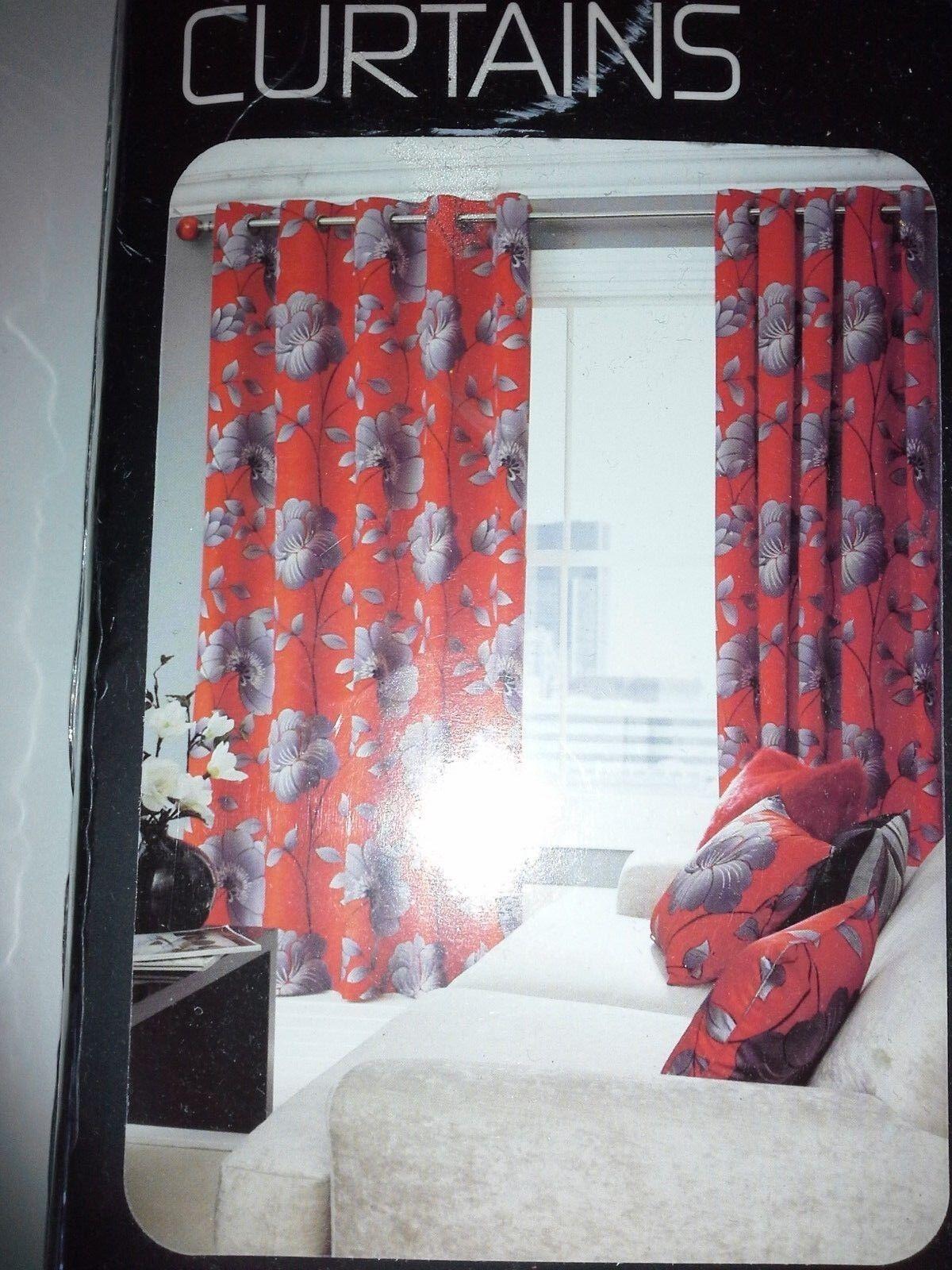 NEXT EYLET CURTAINS DROP 54 inches Width 59 - 83inch 83inch 83inch rotgrau 2 Cushions 7790c9