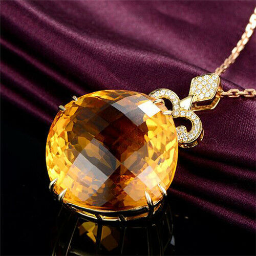 Beautiful 18k Yellow gold Solid Natural 55ct Yellow Citrine Diamonds Pendant