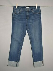 ANN-TAYLOR-LOFT-79-Raw-Hem-Cuffed-Modern-Straight-Crop-Denim-Jean-Size-10