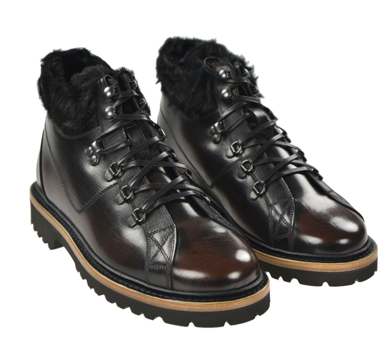NEW KITON SHOES 100% LEATHER WITH ASTRAKAN FUR  SIZE 11 US 44 KSC49