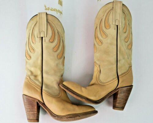 VTG 80s Frye Western Boots 7178 Pink Tan Leather W