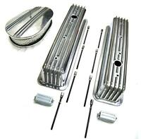 Chevy Polished Aluminum Tall Finned Valve Covers & 12 Air Cleaner Kit Sbc 350