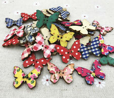 25X Mixed pattern Cloth Wooden butterfly buttons Fit Sewing scrapbooking 27mm