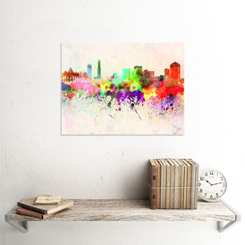 PAINTING ILLUSTRATION CITYSCAPE GENOA SKYLINE PAINT SPLASH ART PRINT MP5233B