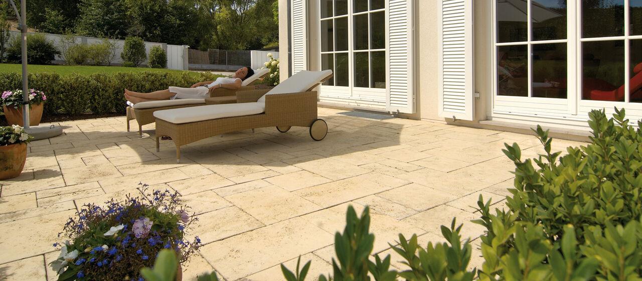 Kann Terrassenplatten Travino strukturiert in sandstein