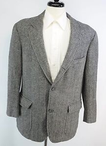 Brooks Brothers Gray HERRINGBONE Sport Coat DONEGAL TWEED Jacket 3 Btn Wool Blazer 42 R